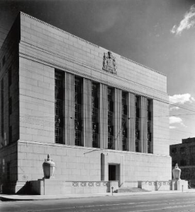 The Bank of Canada building in 1938. The distinctive façade quickly became the widely recognized symbol of Canada's central bank.