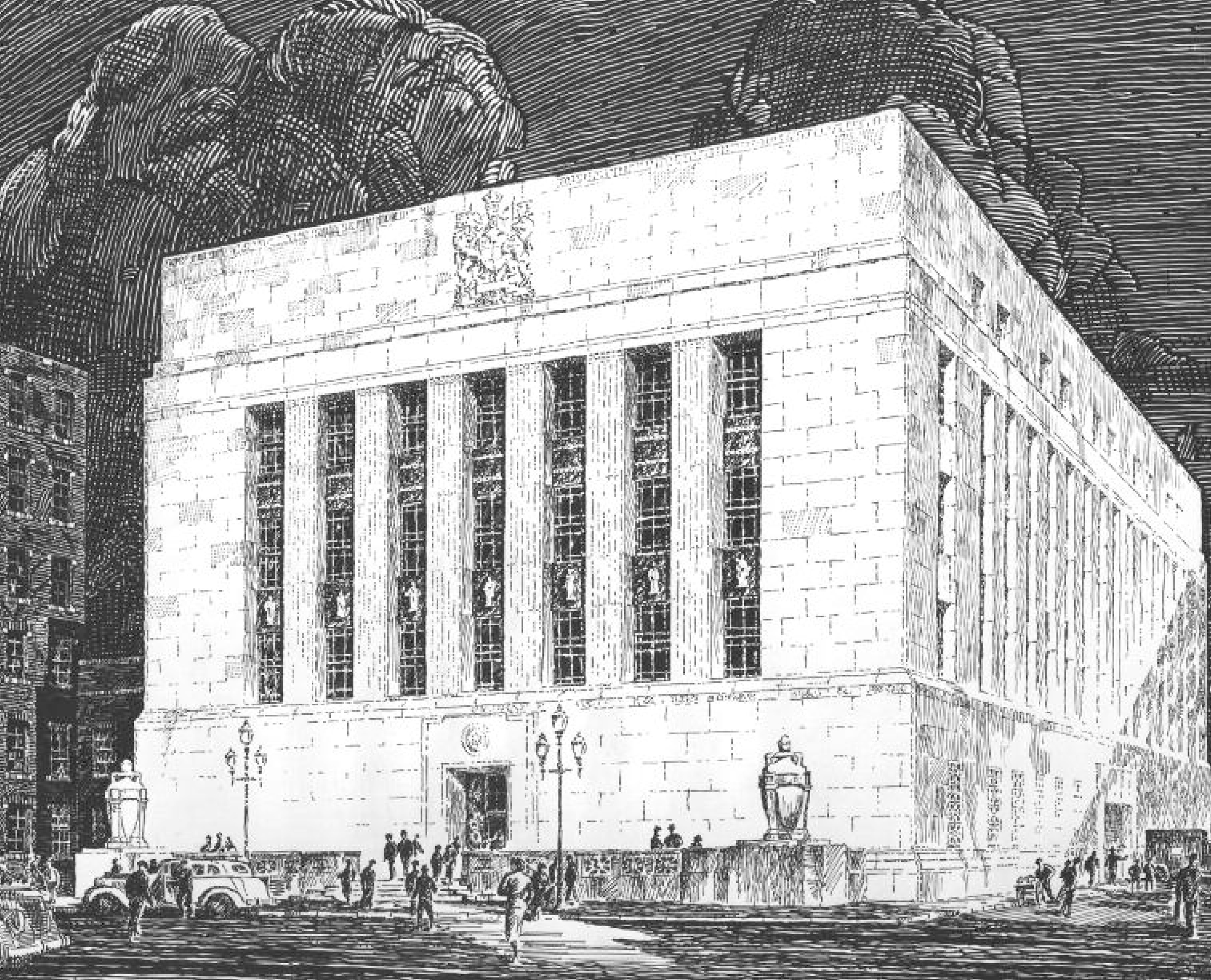 Proposed 1937 design by Marani, Lawson & Morris and S.G. Davenport, Associated Architects