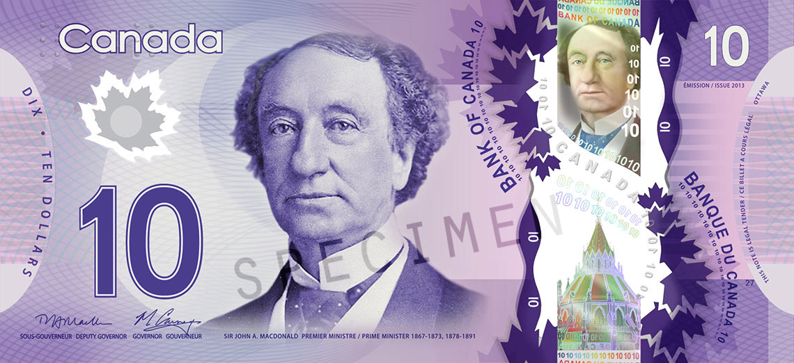 Front of $10 Note