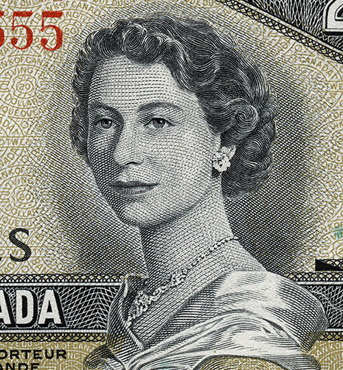 Detail of $20 note, Canadian Landscape series, Bank of Canada, issued 9 September 1954
