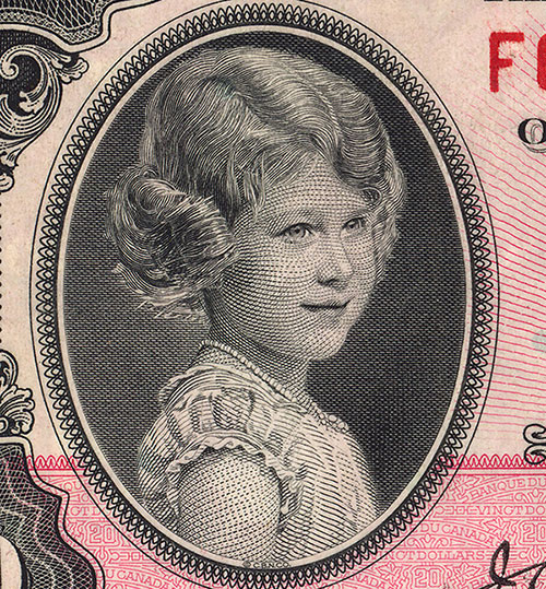 Detail of $20 note, 1935 series, Bank of Canada, issued 11 March 1935