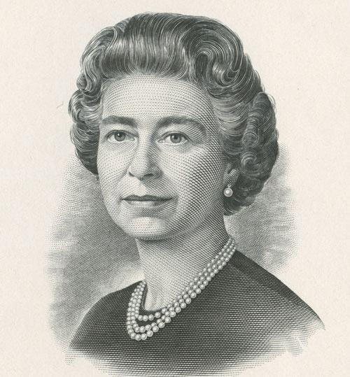 Queen Elizabeth II, engraving by Henry S. Doubtfire of De La Rue, portrait die proof, 1987, printed by British American Bank Note Company, acquired 2011 from Bank of Canada Currency Department, National Currency Collection, #2011.0067.01479