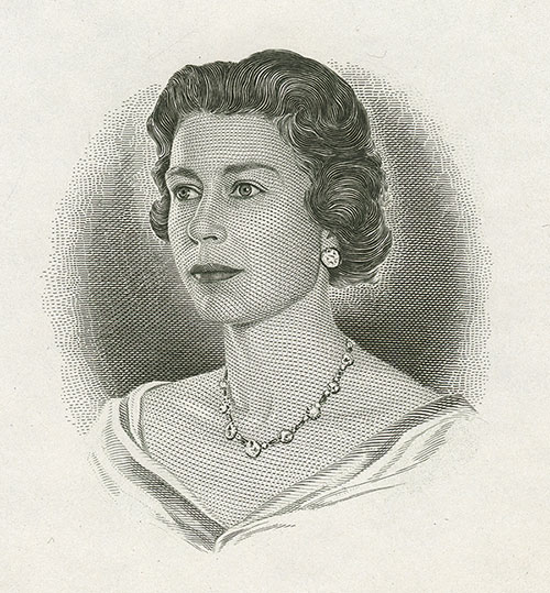 Queen Elizabeth II, engraving by George Gundersen (1910–75), portrait die proof #BC 205, 1967, printed by British American Bank Note Company, acquired in 1993 from British American Bank Note Company, National Currency Collection, #1993.0056.00323