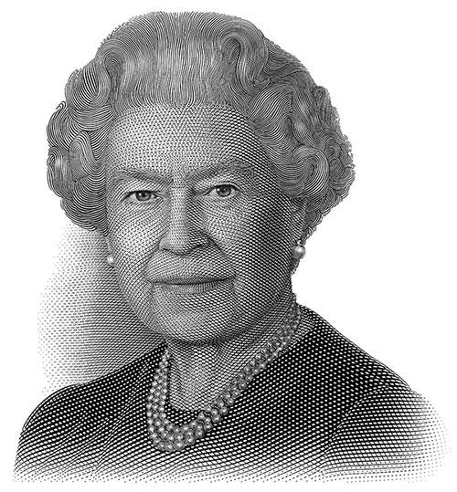 Queen Elizabeth II, intaglio engraving, Jorge Peral, c. 2009