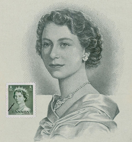 Queen Elizabeth II , original engraving by George Gundersen (1910–75) with addition of stamp for this composite (© Canada Post 1953), portrait die proof (revised), 1956, printed by British American Bank Note Co., engraving acquired 2009 from the Bank of Canada, National Currency Collection, #2009.0014.00039