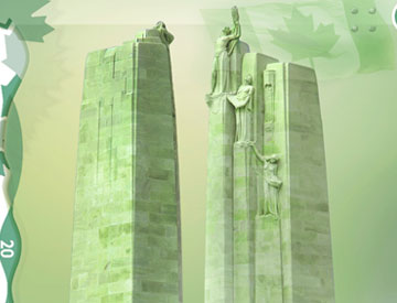The two pylons of the Vimy memorial represent the sacrifices of people from Canada and France.