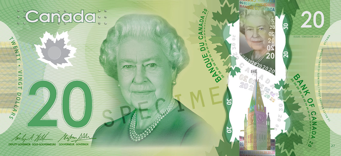 $20 note, 2012 Frontiers series, portrait: Her Majesty Queen Elizabeth II, issued 7 November 2012