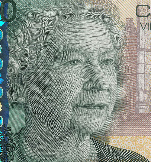 Detail of $20 note, Canadian Journey series, Bank of Canada, issued 29 September 2004
