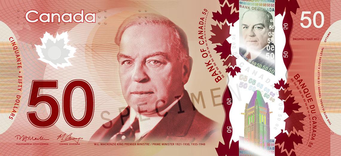 50カナダ ドル紙幣
