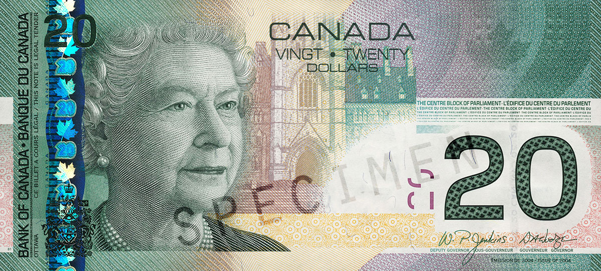 $20 note, 2004 Canadian Journey series, portrait: Her Majesty Queen Elizabeth II, issued 29 September 2004