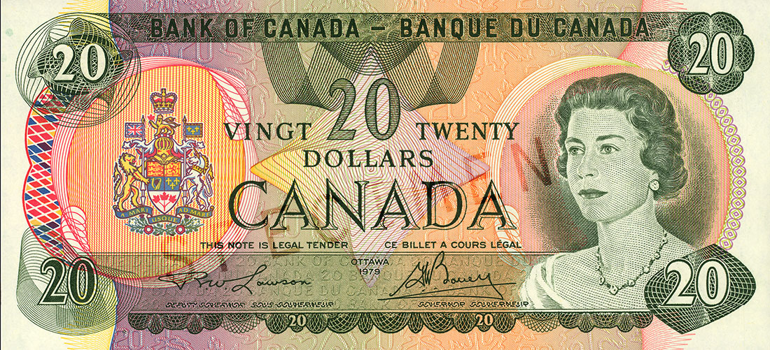 $20 note, Scenes of Canada series (1979 second issue), portrait: Her Majesty Queen Elizabeth II, issued 22 June 1970, subsequent issue 18 December 1979
