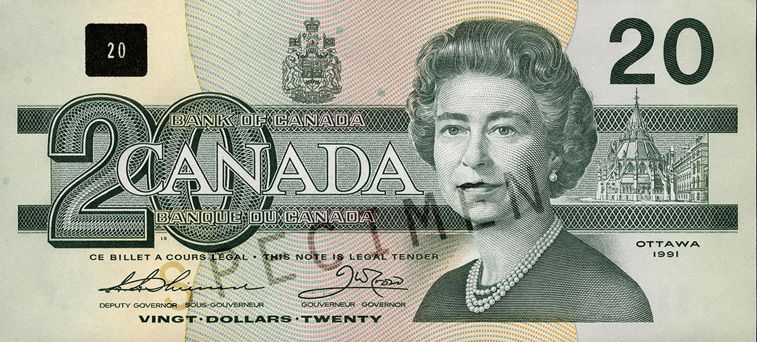 $20 note, Birds of Canada series, portrait: Her Majesty Queen Elizabeth II, issued 29 June 1993