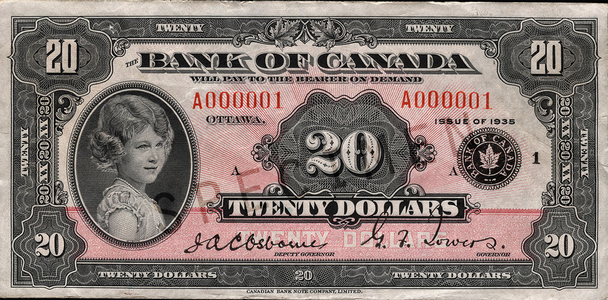 $20 note, 1935 series portrait: Princess Elizabeth (granddaughter of King George V and Queen Mary, now the reigning monarch, Queen Elizabeth II), issued 11 March 1935