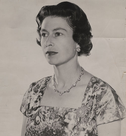 Queen Elizabeth II, photo by Anthony Buckley (1912–93), print from negative #4698-18, c. 1963, acquired in 1993 from British American Bank Note Company, National Currency Collection,  #1993.0056.00238