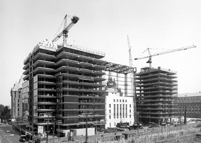 Construction of the glass towers. Architects: Arthur Erickson in partnership with Marani, Rounthwaite and Dick.