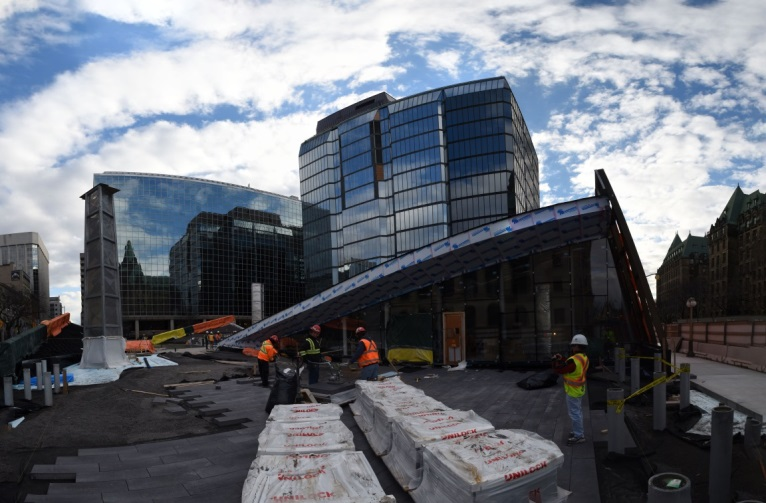 The new glass pyramid is the most notable new feature of the building. Architects: Perkins+Will Canada.