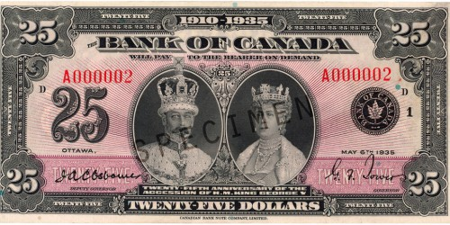 Front of $25 Commemorative Note (1935)