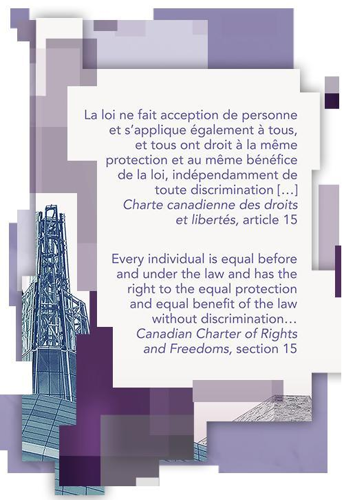"Charter excerpt on $10 note; ""every individual is equal before and under the law and has the right to the equal protection and equal benefit of the law without discrimination"""